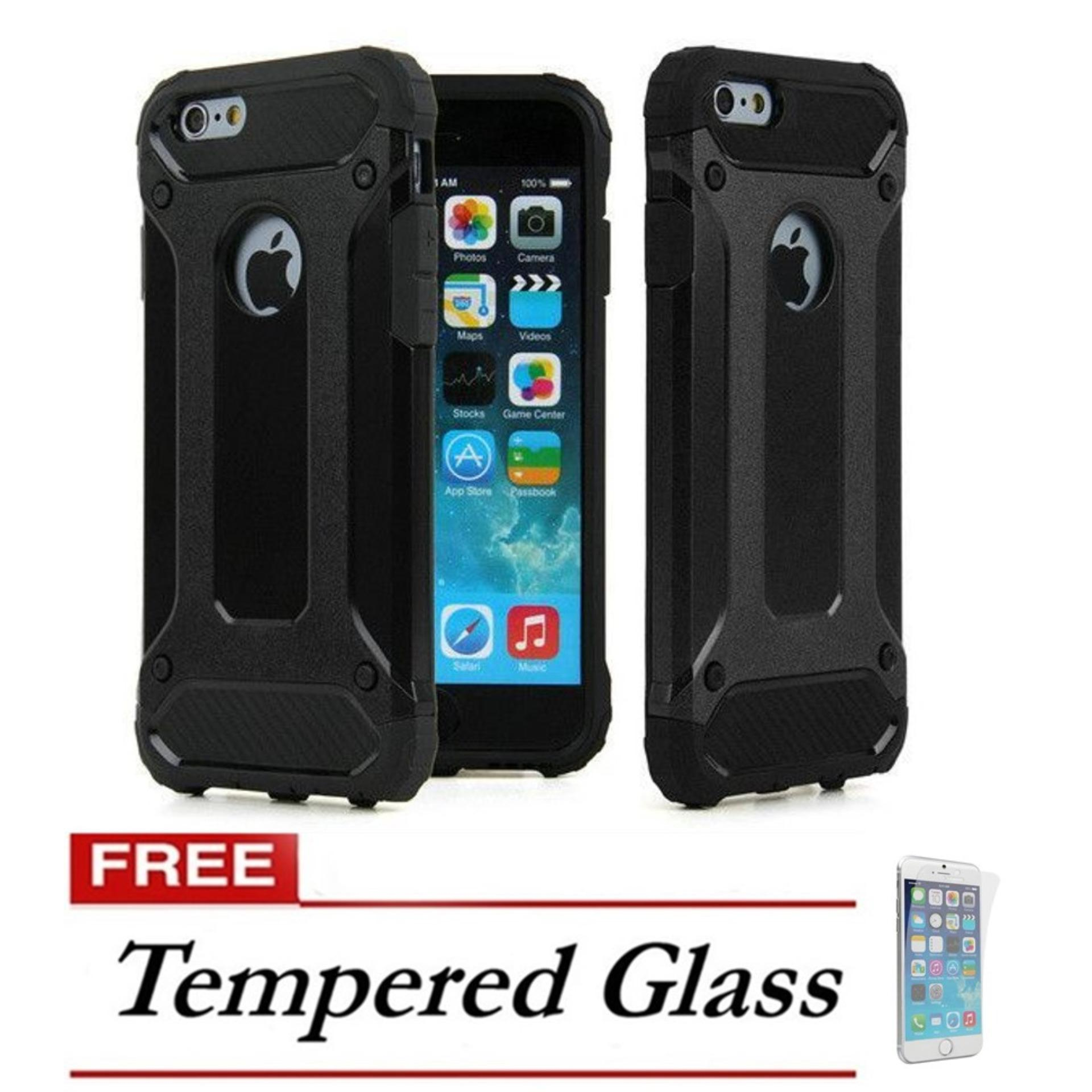 Case Hard Cover Robot Shockproof Armor For Iphone 6 Plus - Black FREE Tempered Glass