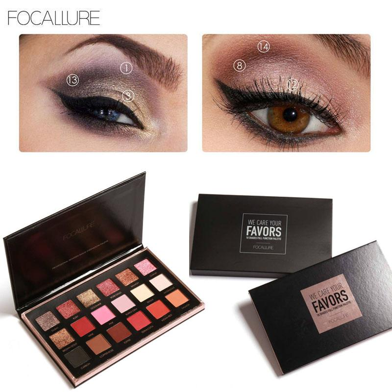 FOCALLURE 18 Colors Eyeshadow Palette Shimmer Matte Pigment Cosmetics