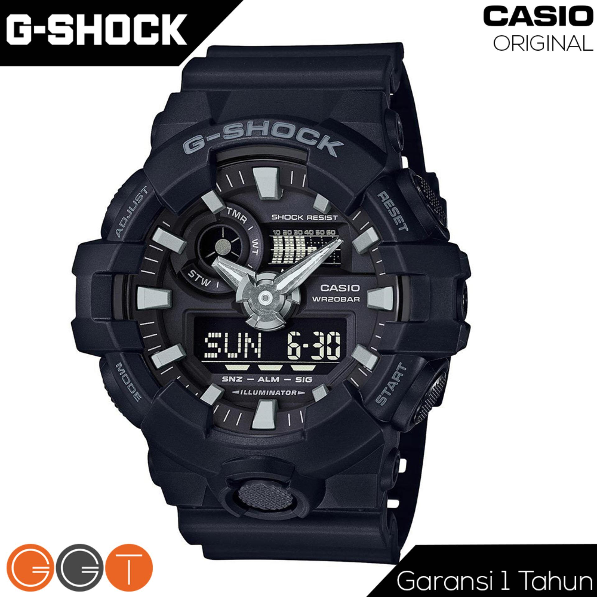 Spesifikasi Casio G Shock Dual Time Resin Starp Quartz Movement Jam Tangan Pria Ga 700 1B Full Black Murah