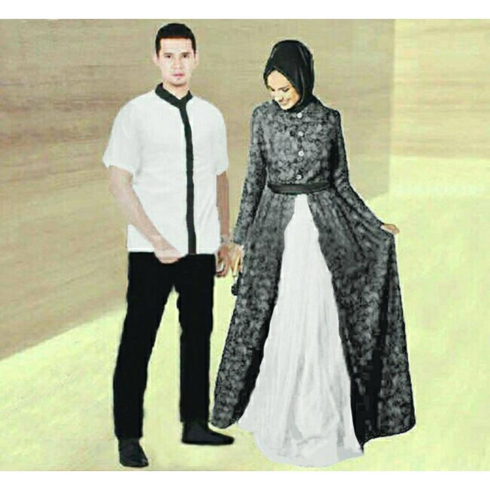 Harga Legionshop Busana Muslim Couple Baju Muslim Muslim Wear Baju Pasangan Maxi Couple Muslim Zahira White Legionshop Asli