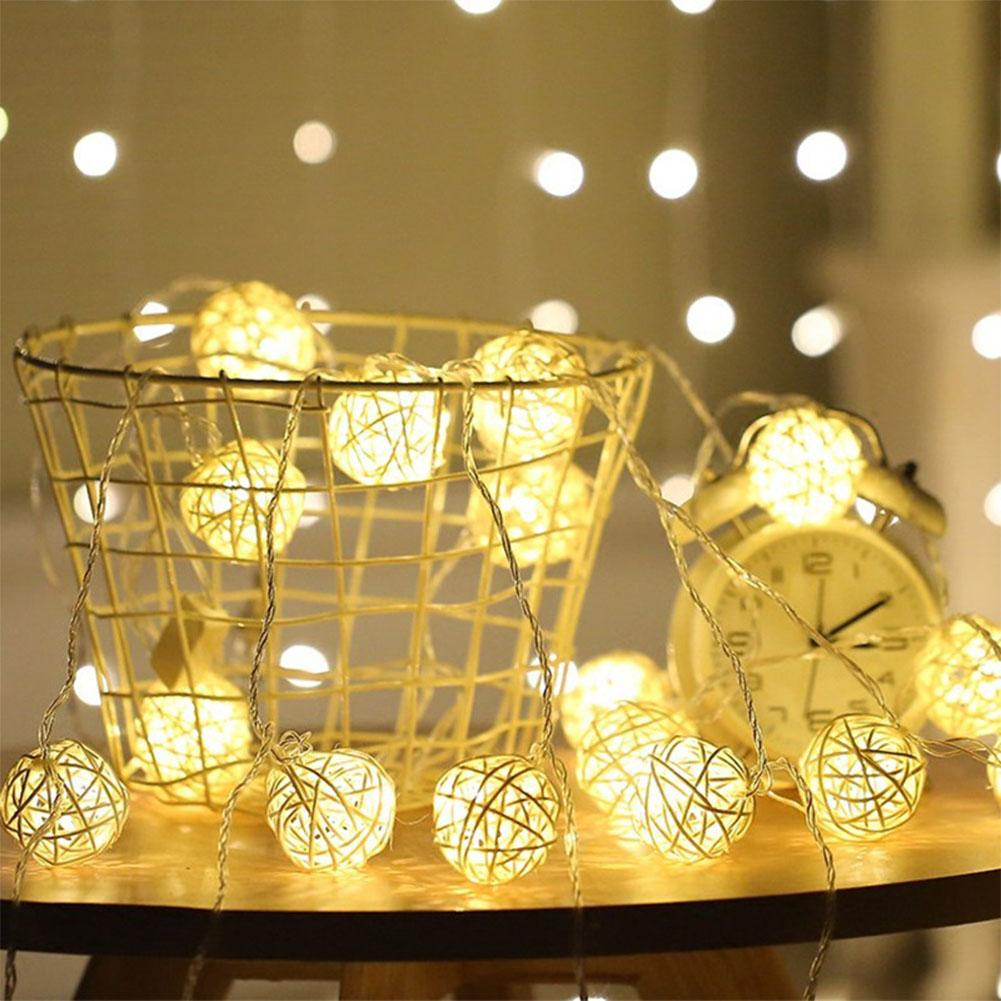 3.5M 20 LED Sepaktakraw String Lights Outdoor Waterproof Battery Box Night Lamp Festival Wedding Party Yard Decoration