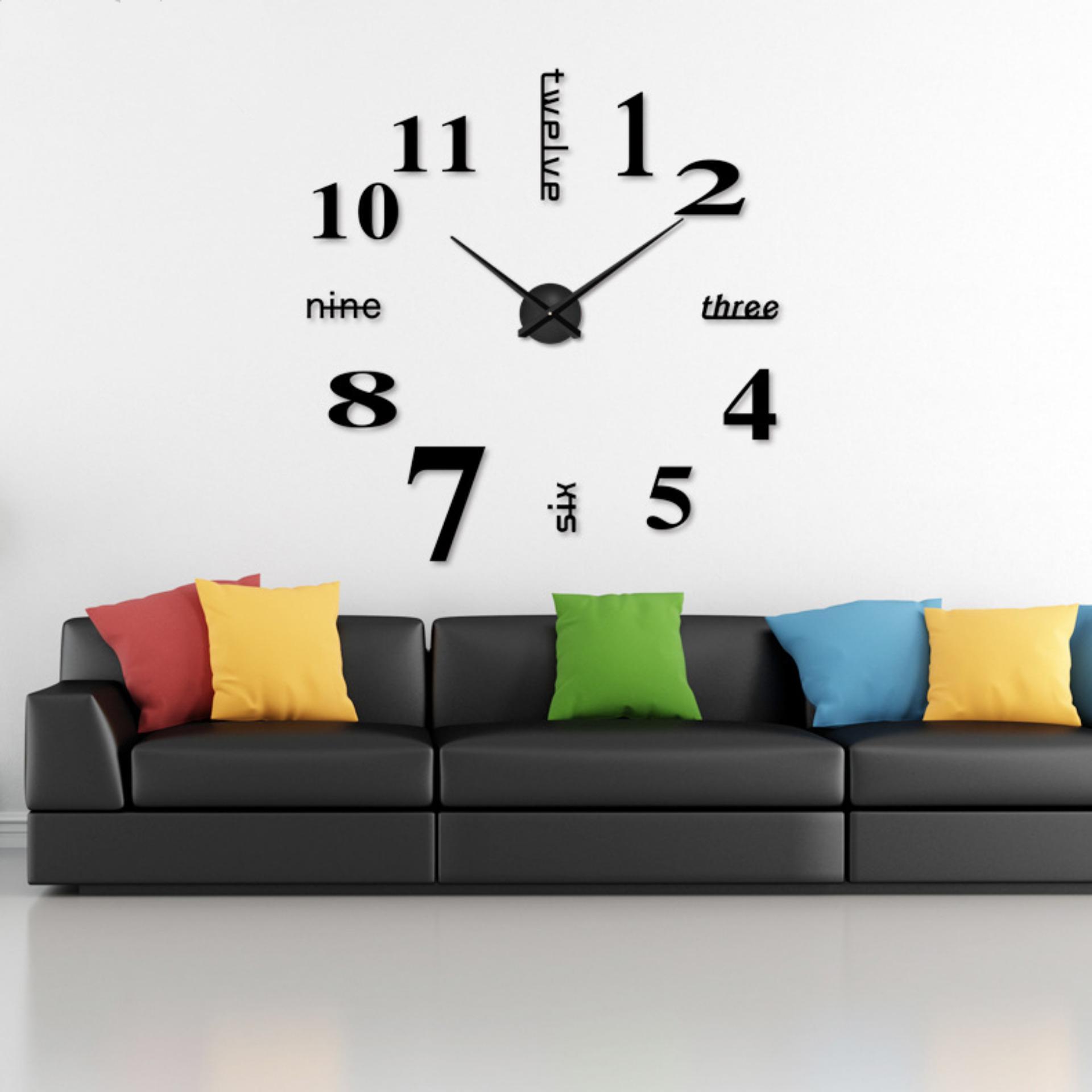 YBC diseduh sendiri 3D Art cermin akrilik besar jam dinding untuk ruang tamu 4779c06254