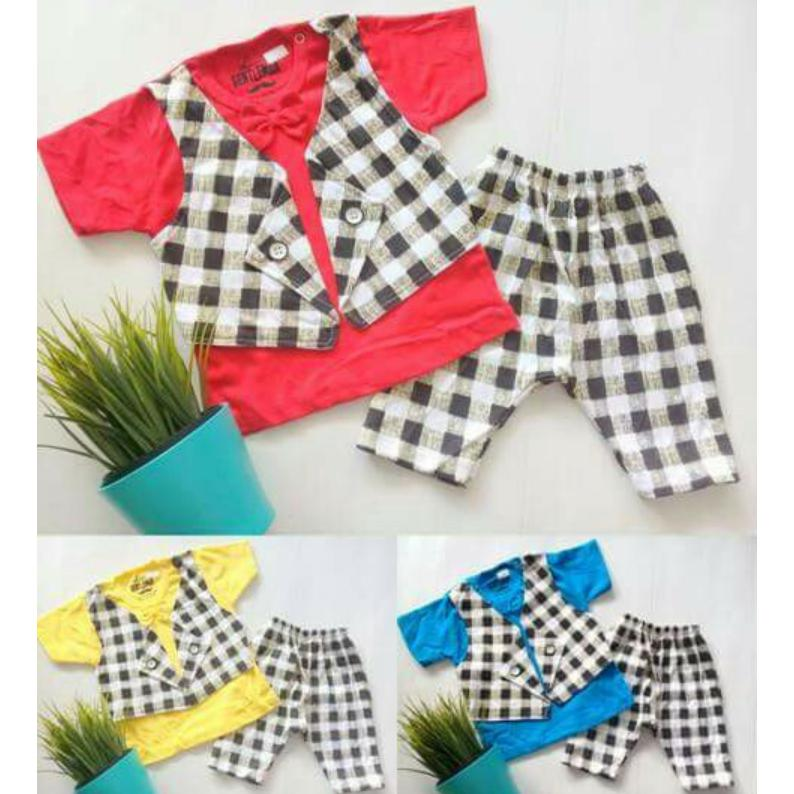 Detail Gambar Set rompi tuxedo square - Little Gentlement Dasi Baju Anak Cowok Baju Bayi laki-laki - setelan anak Terbaru