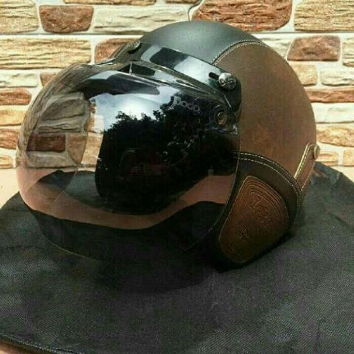 helm bogo retro tulisan clsssic lis croom tampa kaca dewasa  sni