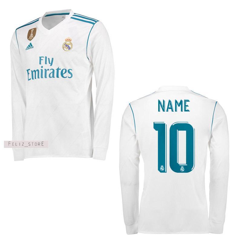 Jual Jersey Bola Real Madrid 2017 2018 Lengan Panjang Custom Nama Nomor Online Di Indonesia