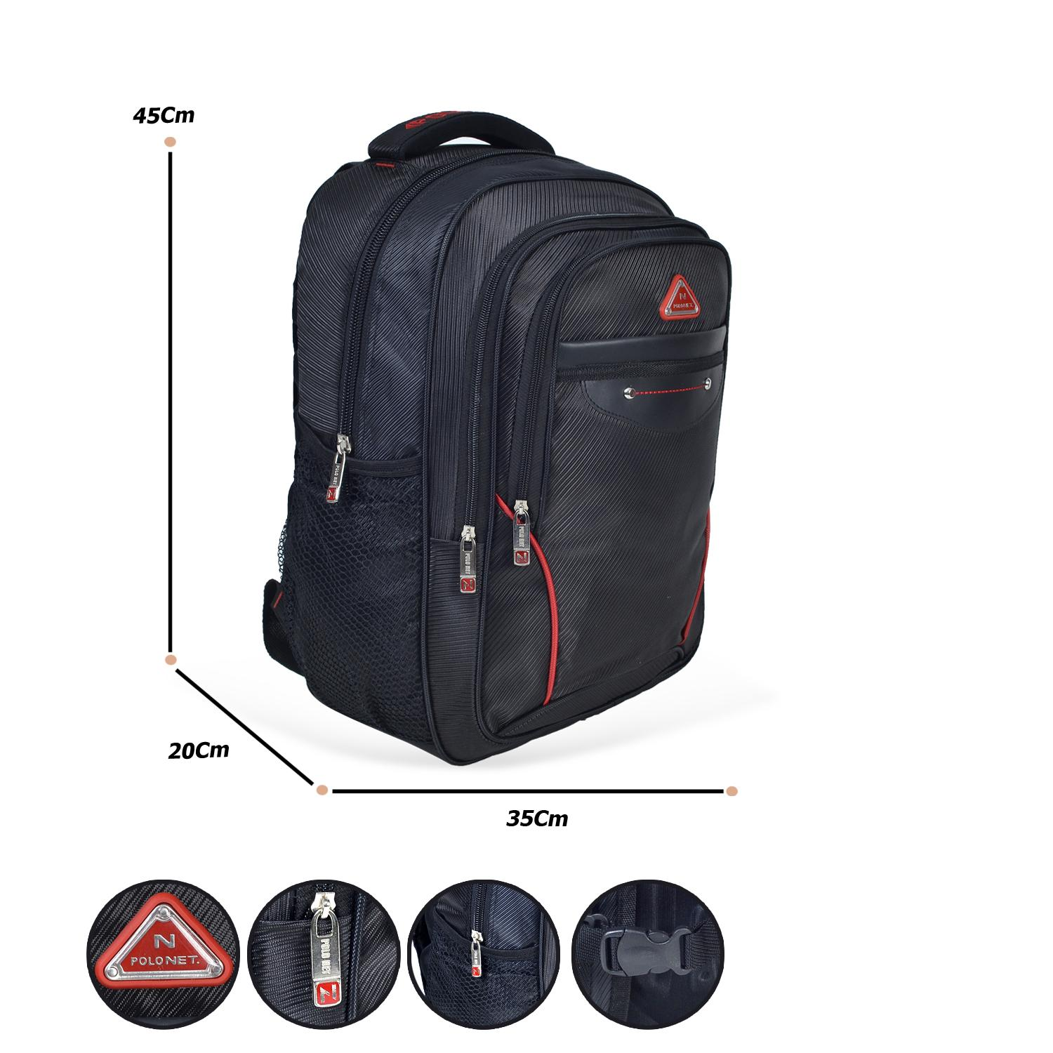 Polo Net Embos Backpack Tas Ransel Pria 18 Inchi 4012-18 ZV Polyester Nylon Original
