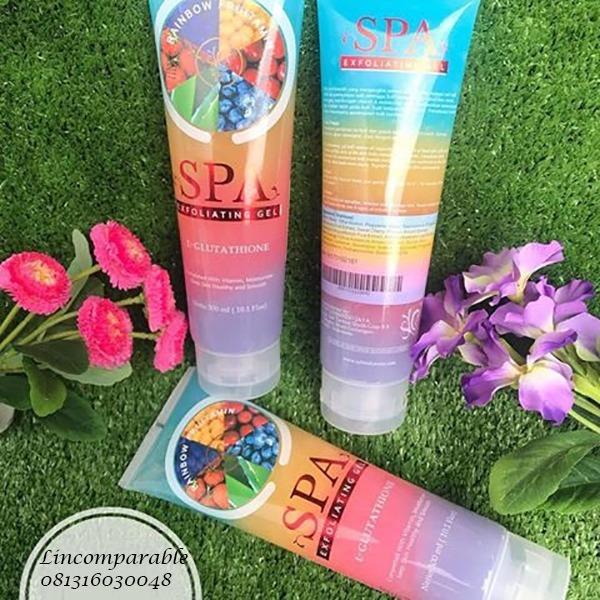 Rainbow Fruitamin Spa Gel By Syb BPOM Exfoliating With Glutathion - 300 ml