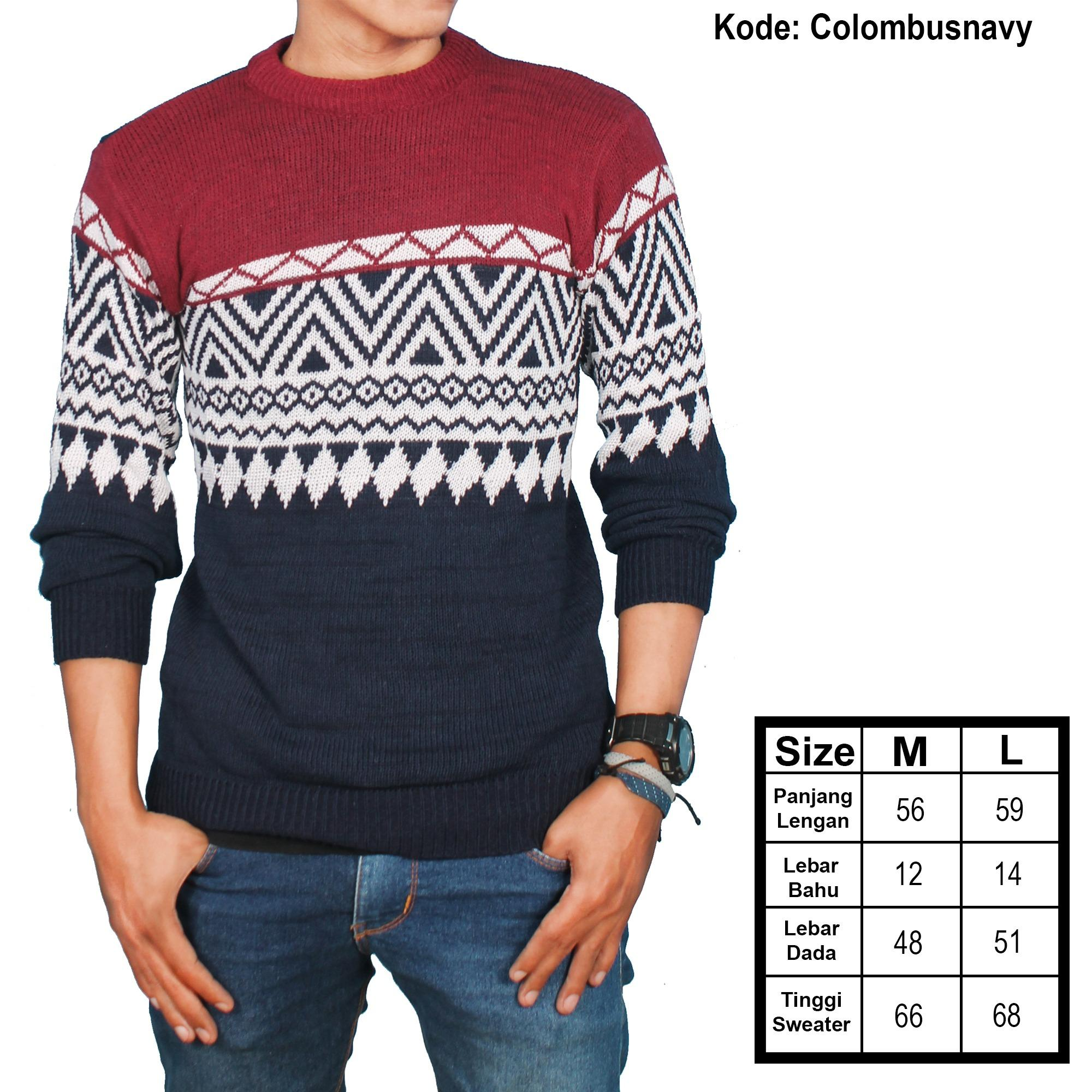 Jual Switer Rajut Colombus Tribal Branded