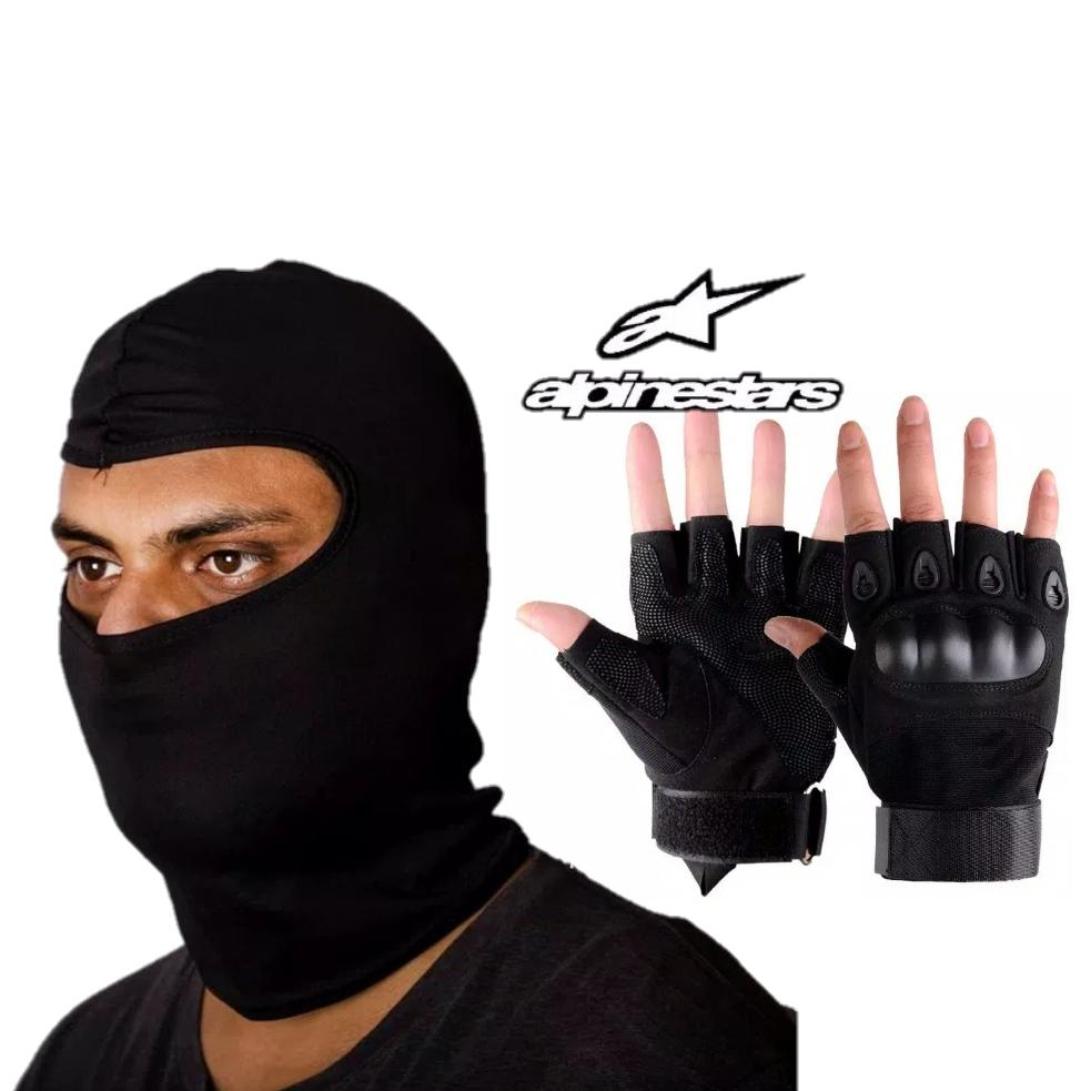 Paket Sarung tangan tactical dan Masker Alpinestars full face - Sarung tangan motor half finger Balaclava