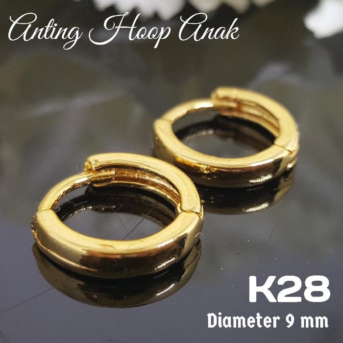 Anting Hoop Bulat Anak / Bayi Perhiasan Imitasi Xuping Lapis Emas -K28