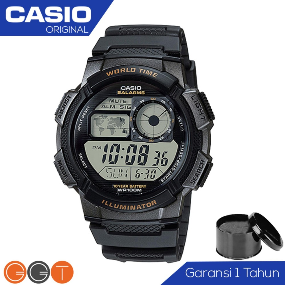CASIO Illuminator AE-1000W - Jam Tangan Pria - Tali Karet - Digital Movement Promo