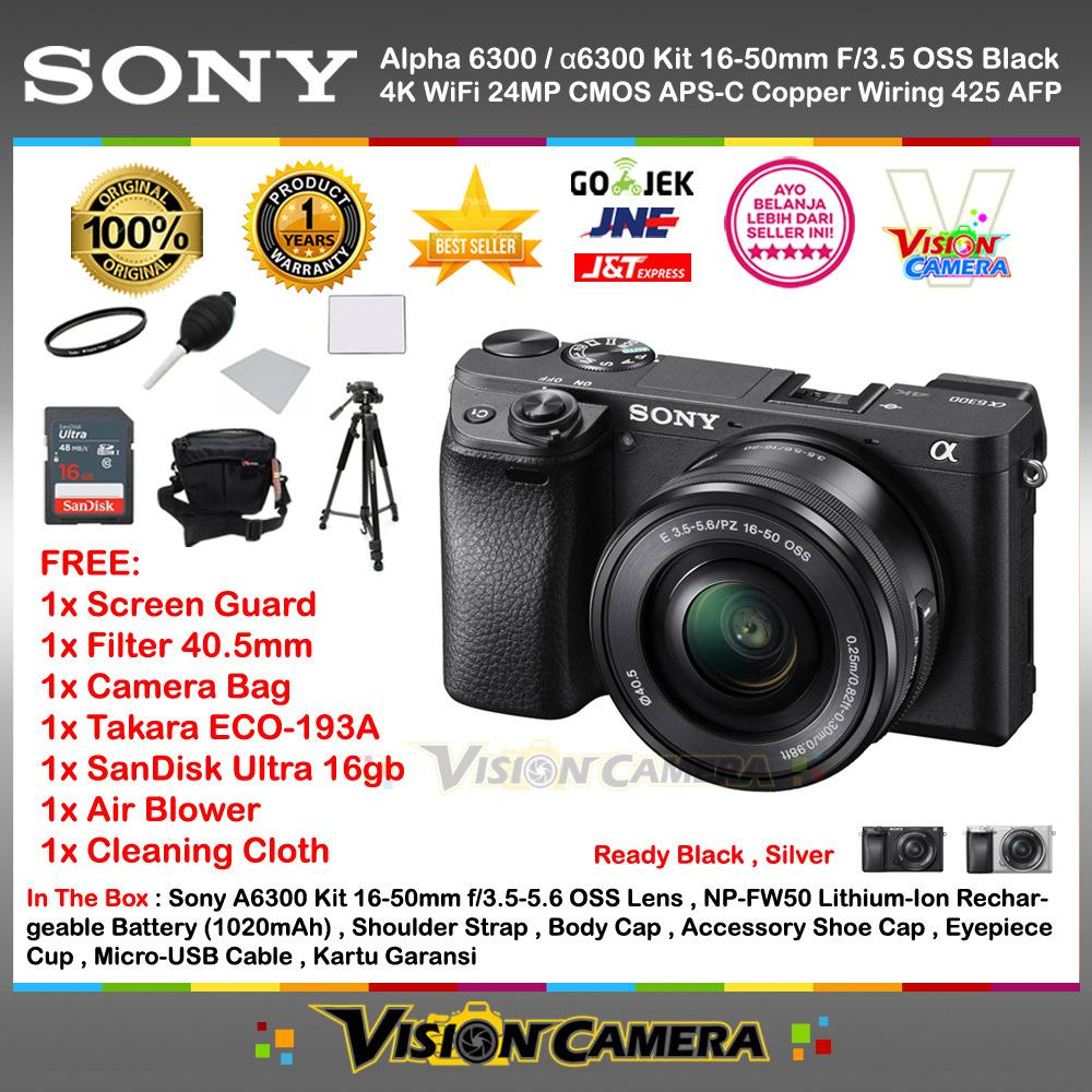 SONY Alpha 6300 with 16-50mm Lens Mirrorless Camera a6300 4K WiFi 24MP Exmor CMOS Sensor BIONZ X Processor + Screen Guard + SanDisk Ultra 16gb + Filter ...