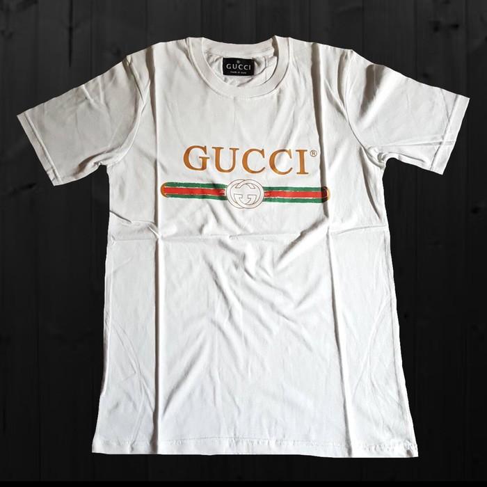 Kaos / Baju / Tshirt / Tee Gucci Logo White / Putih - Sauyzz
