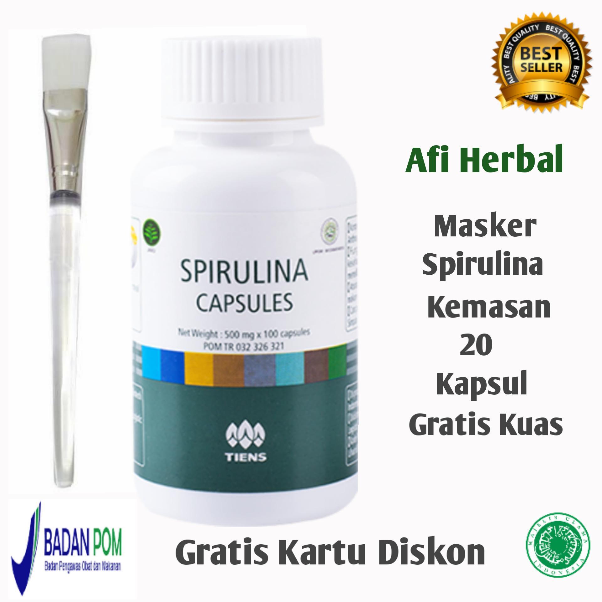 Beli Tiens Masker Spirulina Paket 20 Kapsul Free Kuas Free Member Card Afi Herbal Lengkap
