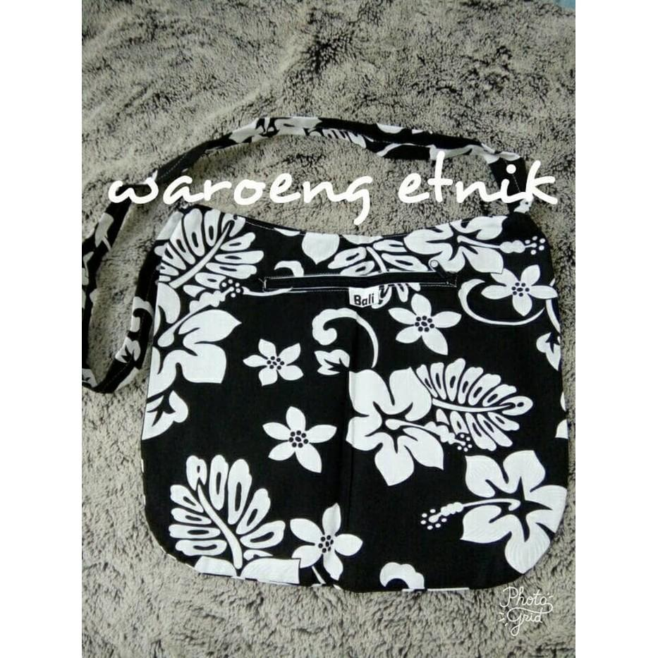 Tas Bali Selempang Slempang Etnik Bunga Flower - Hitam - Ljgzup