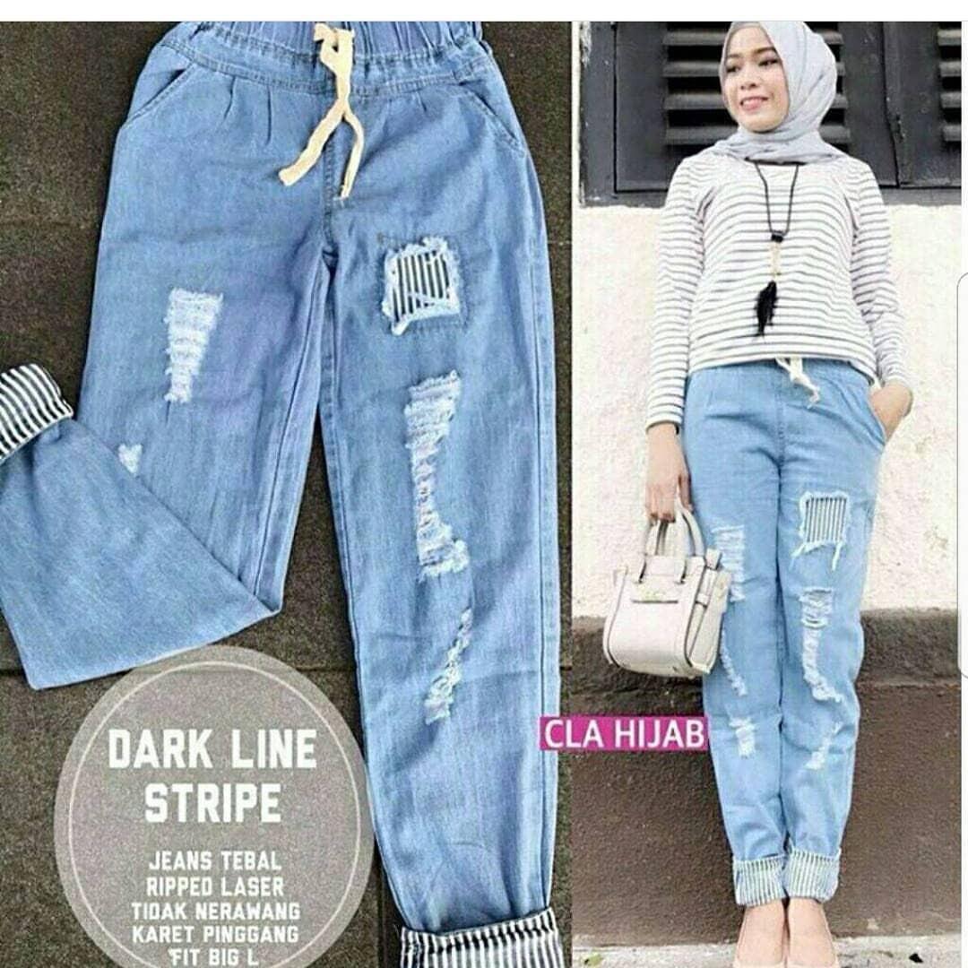 OEM Baju Original Darkline Pants Jeans Celana Panjang Cewek Kulot Wanita Muslim Joger Muslimah Murah Simple Trend 2018