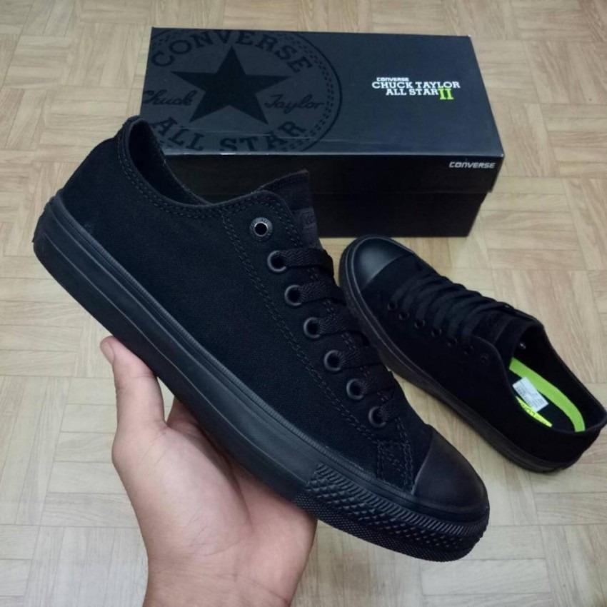 sepatu sneakers converse all star CT LOW CUT UNISEX-FULL BLACK