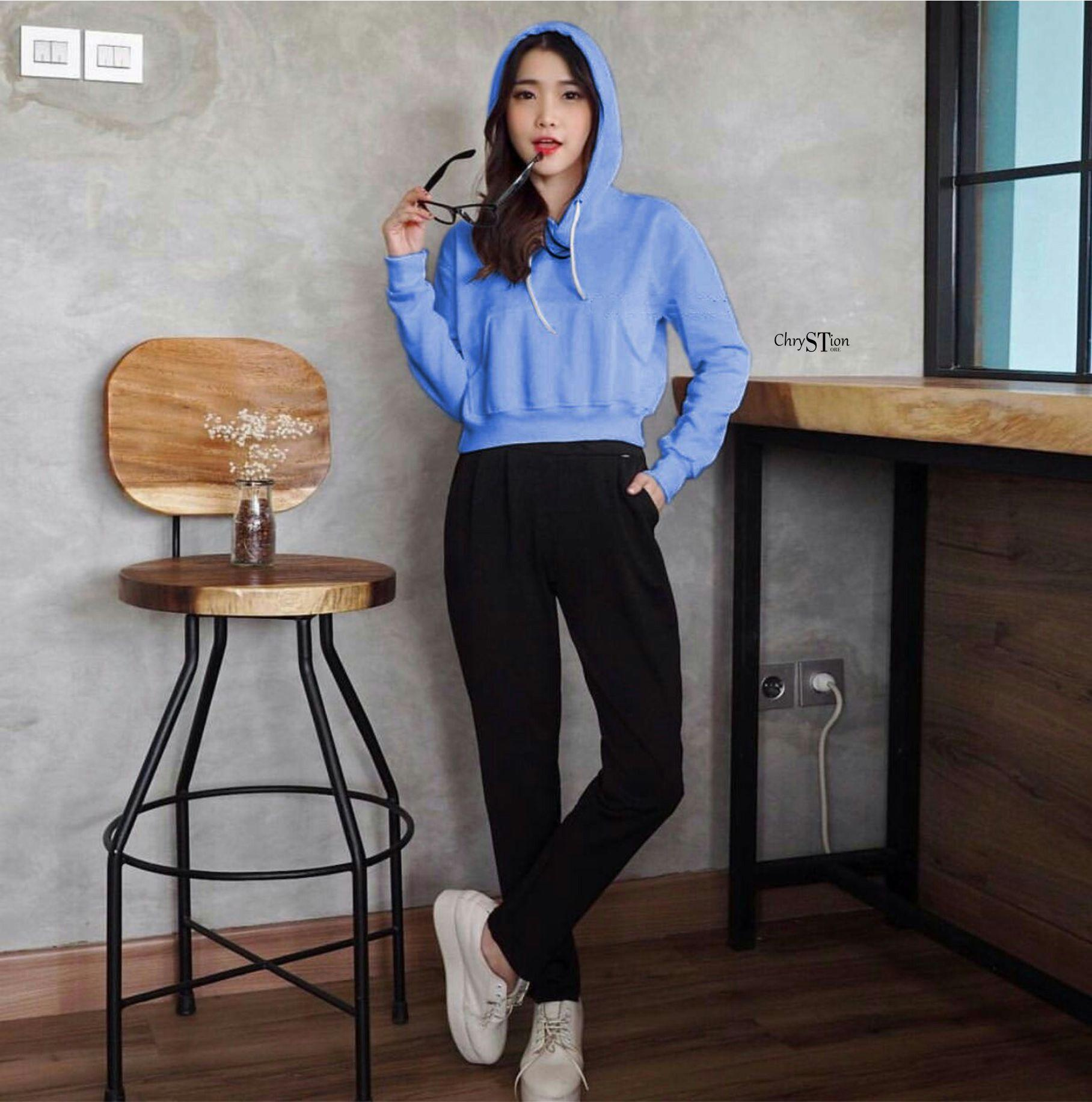 Chrystion Pull Over Sweater Wanita Crop Hoodie Lengan Panjang Hits SAKURA