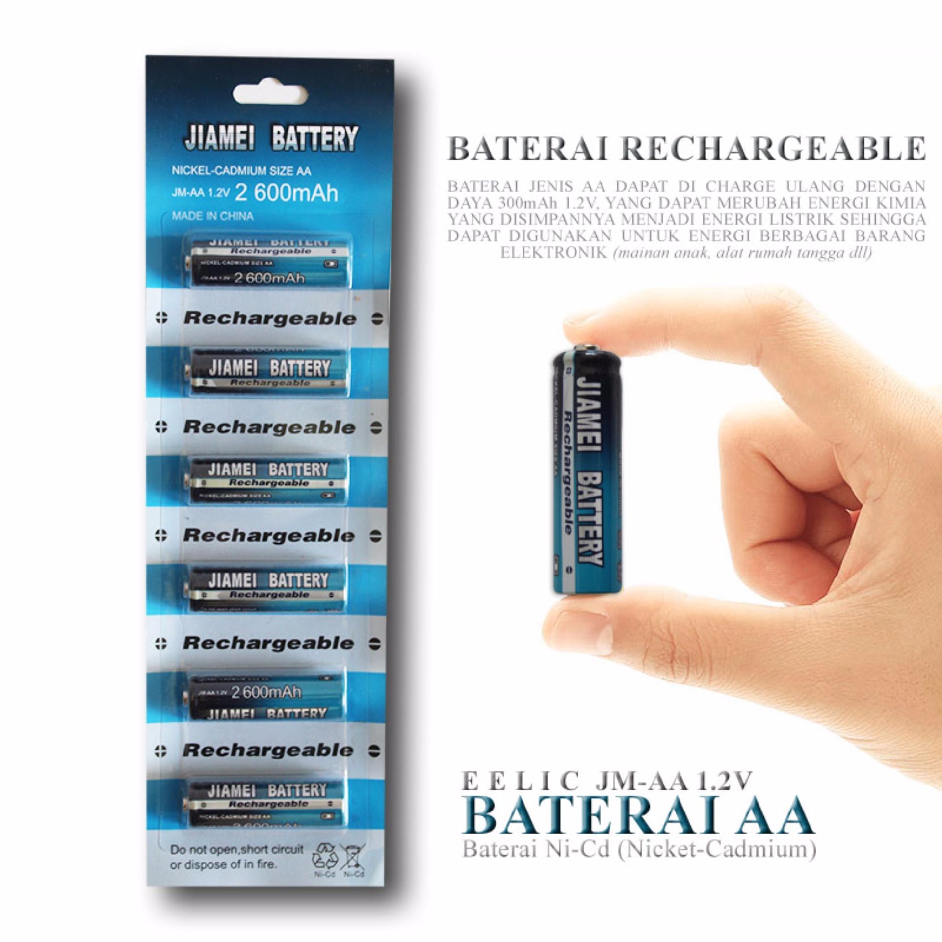 EELIC JM AA 1 2V 300mAh Baterai Charge Nickel Cadmium Ukuran AA Baterai cas yang