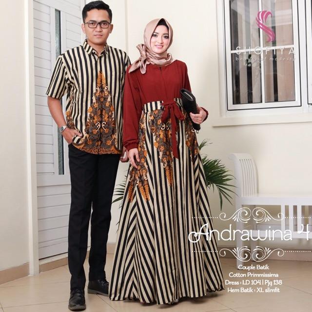 Busana Muslim Batik - Baju Gamis Batik Sarimbit Andrawina Couple
