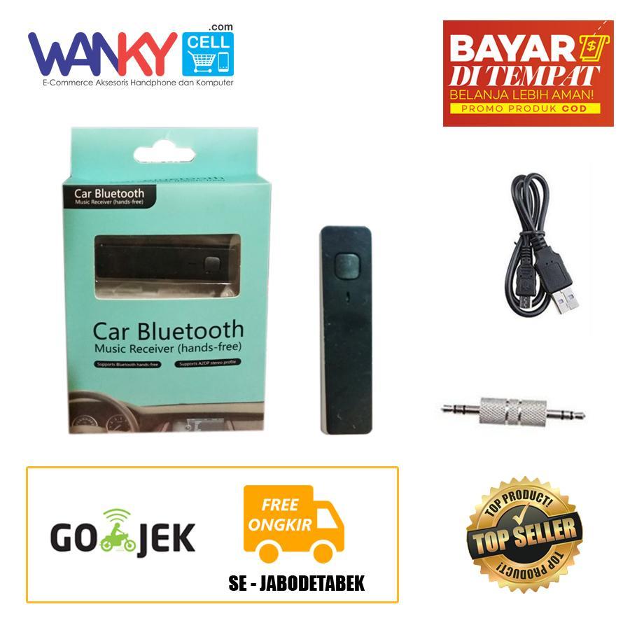 Beli Sekarang Mini Clip On Wireless Bluetooth Audio Music Receiver 35mm Aux Stereo H166 Car Persegi Hitam