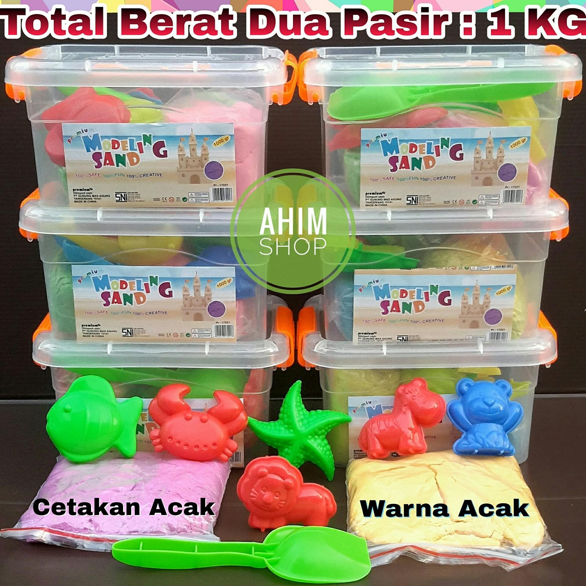 Fitur 1 Box Isi Dua Pasir Ajaib Kinetik Warna Acak Total Kg Refil  3 Toples Premium Modeling Sand Plus