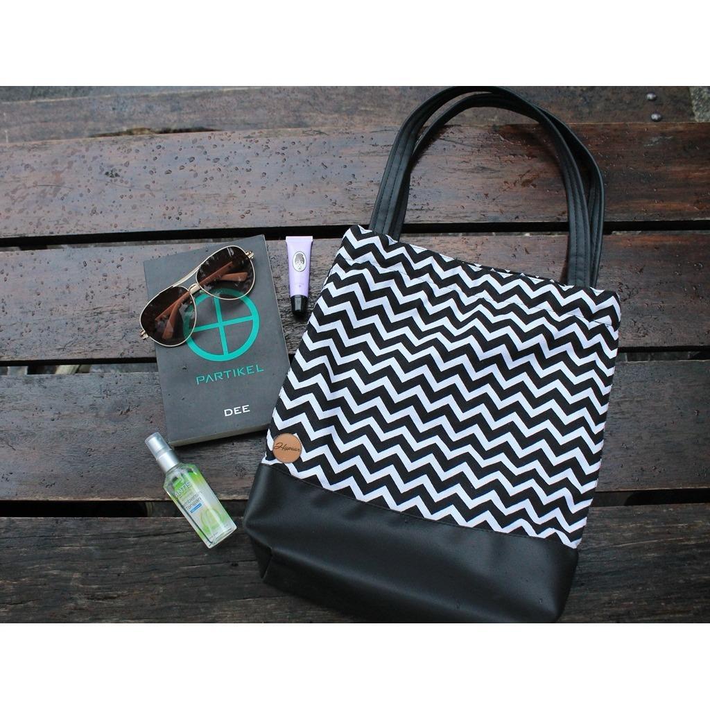 Beli Tas Wanita Tote Bag Murah Stripe Black Combi Black Tas Kuliah Hand Bag Canvas Kanvas Hypear Dengan Harga Terjangkau