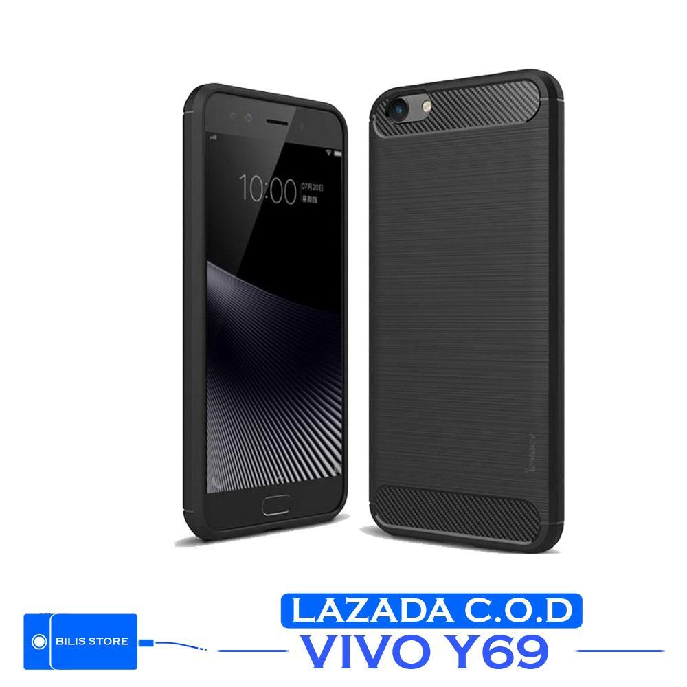 Case Ipaky Silikon Carbon Case Vivo y69 Casing Shockproof Black Color Brush Carbon Texture For Vivo