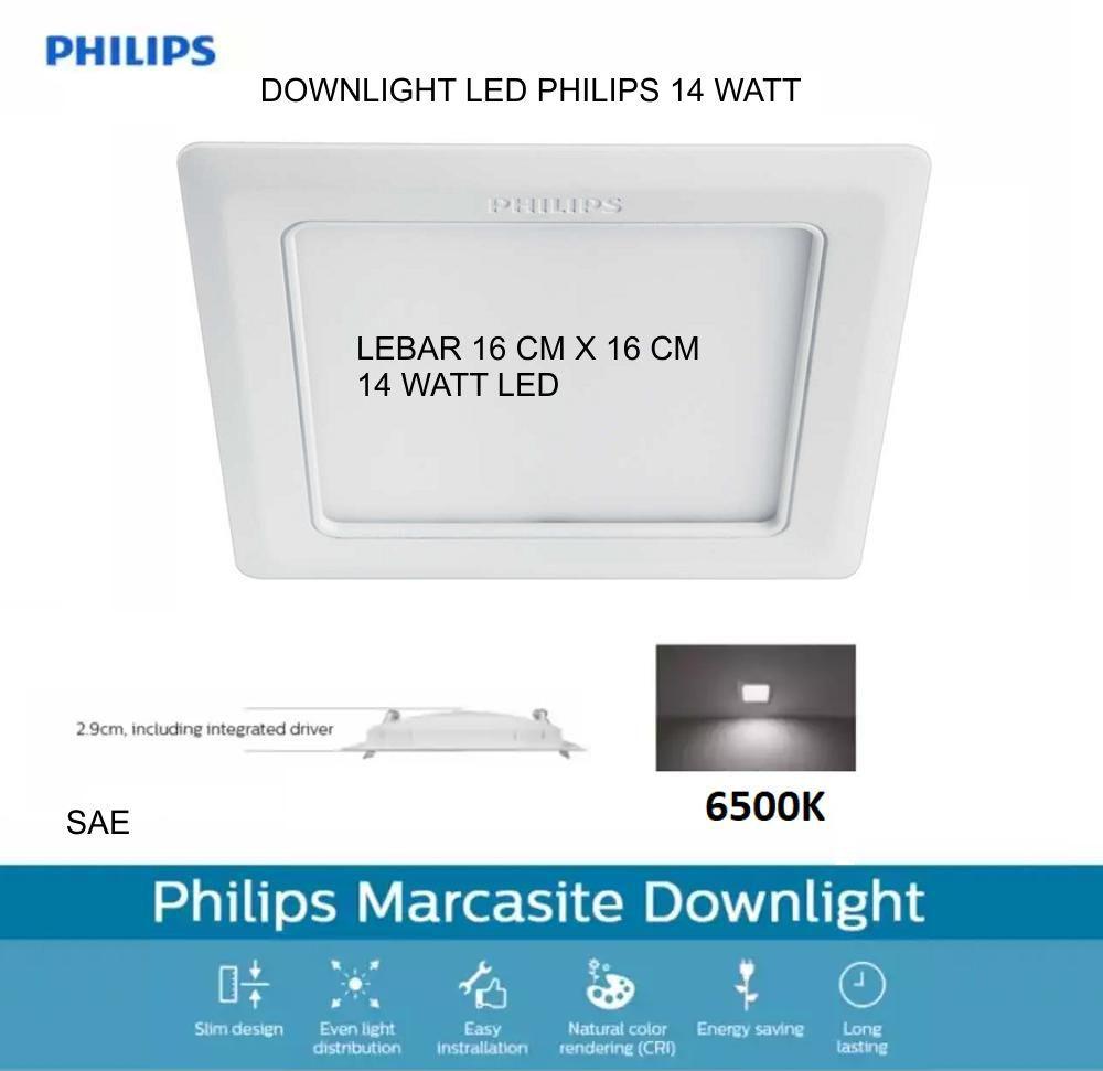 ... LAMPU DOWNLIGHT PHILIPS LED 14 WATT MARCASITE LEBAR 16CM X 16CM CAHAYA PUTIH - 3 ...