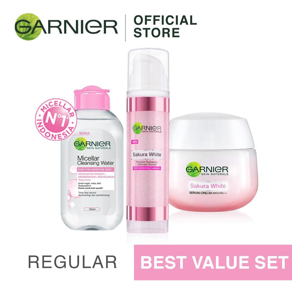 Beli Garnier Sakura Serum White Night Cream Micellar Water Pink Bundle Garnier Online