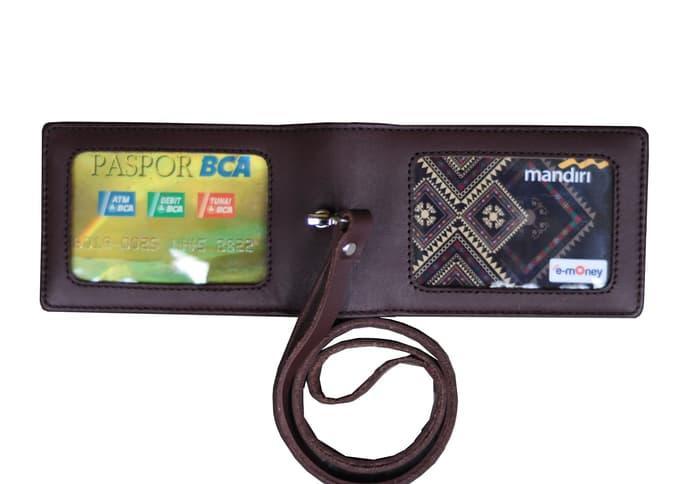 Murah Id Card Holder Double Flip Magnet Tali Kulit Coklat - 4