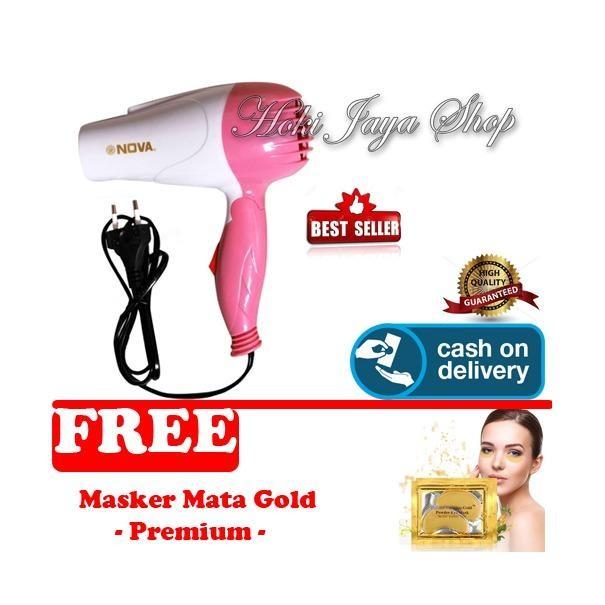 HOKI COD - Nova Hair Dryer N-658 HairDryer - Multi Colour + Gratis Masker Mata Gold Collagen Premium - 1 Pcs