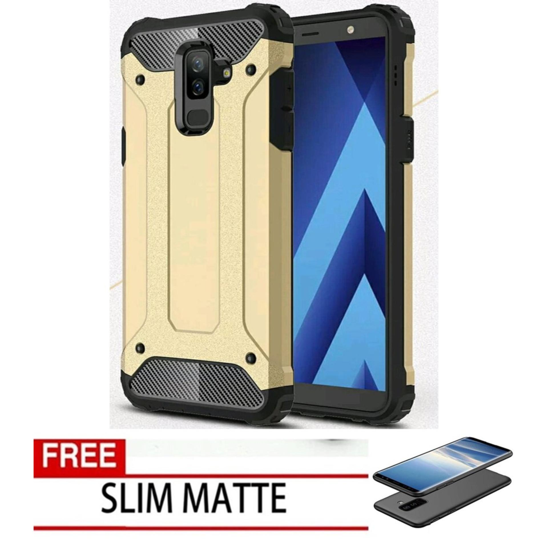 Case Hard Cover Robot Shockproof Armor For Samsung Galaxy J8 2018 - Gold FREE Slim Matte