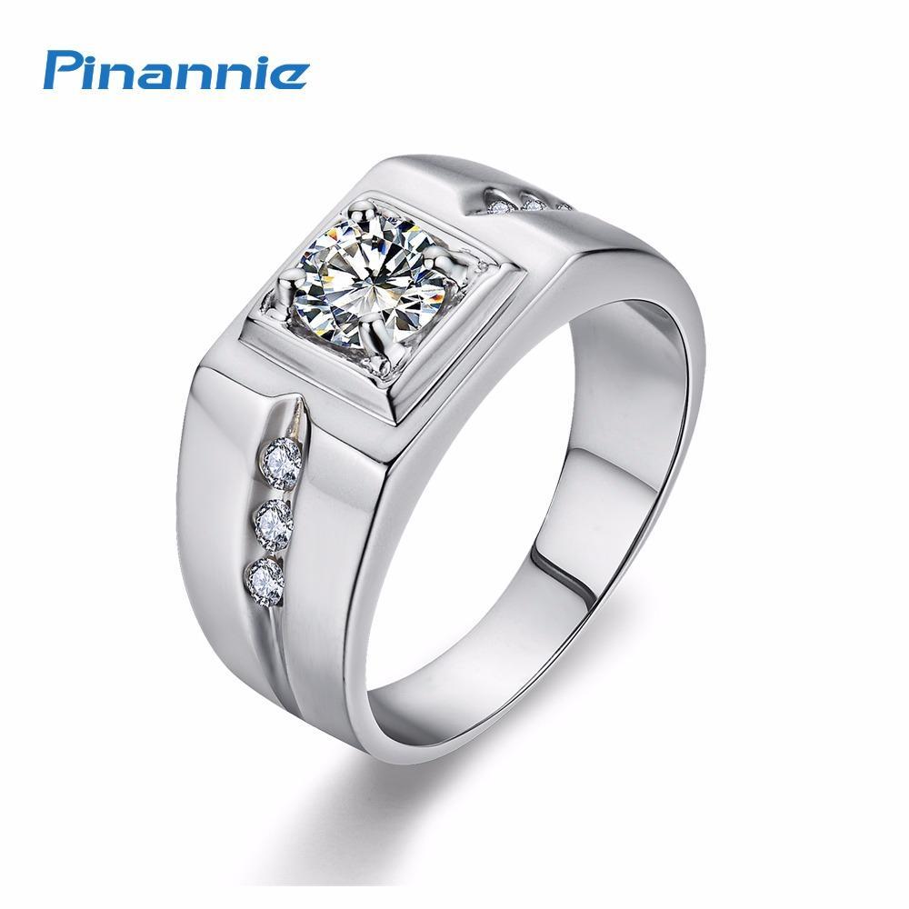Miliki Segera Pinannie Kubik Zirconia Platinum Berlapis 925 Perak Cincin Pria