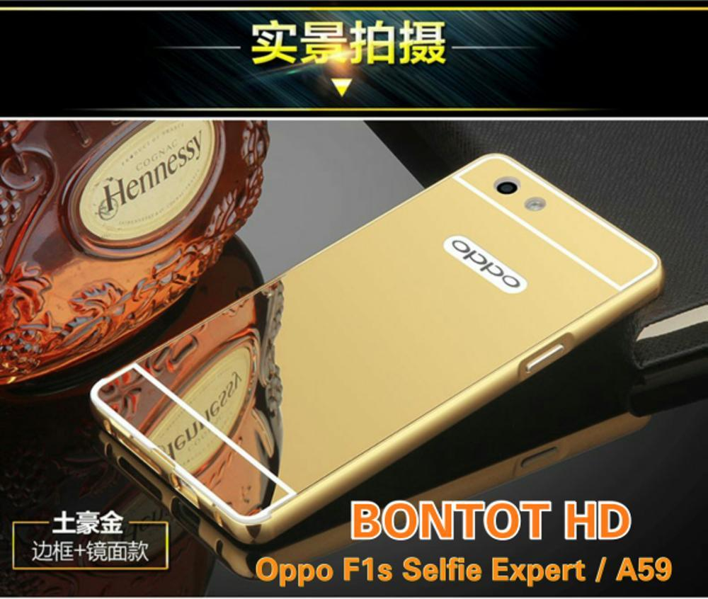 OPPO F1S SELFIE EXPERT ( A59 ) MIRROR CERMIN QUALITY ALUMINIUM BUMPER FRAME PLUS BACK CASE HARD COVER CASING (Backcase Backcover Backdoor Hardcase Alumunium Luxury MIRROR Style BISA NGACA) FOR HP F1 S / A 59 (BUKAN ROBOT-ARMOR-IPAKY-SOFTCASE)