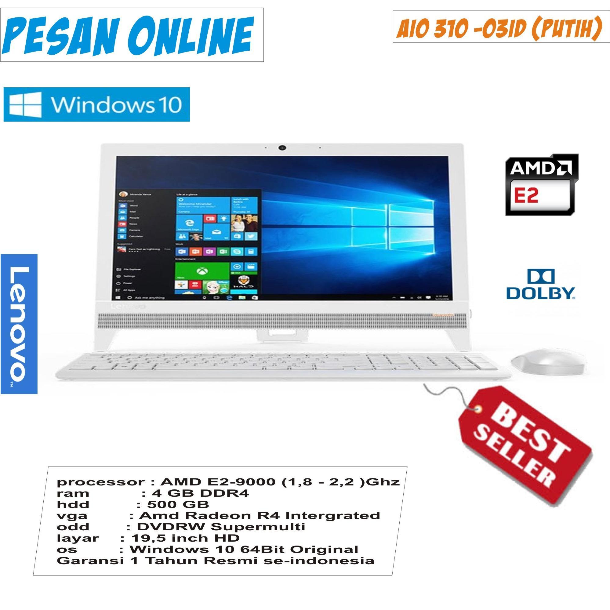 PC all In one 310 - 03ID/AMD E2-9000 Quad core/4 gb / 500 gb/ 19,5 inch/dvd/radeon R3/windows 10/ garansi resmi berlaku se-indonesia
