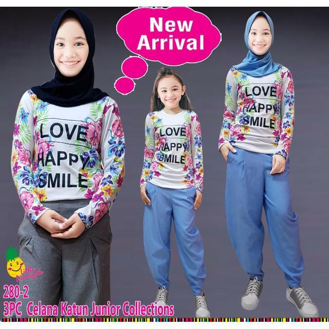 Dijual Th Baju Setelan Muslim Anak Perempuan LP Smile Celana Jogger Berkualitas
