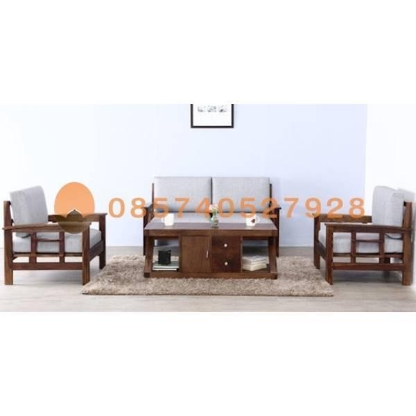 Sofa Minimalis 2 Seater Kayu Jati- Kursi Tamu Set Jok Putih Glentana