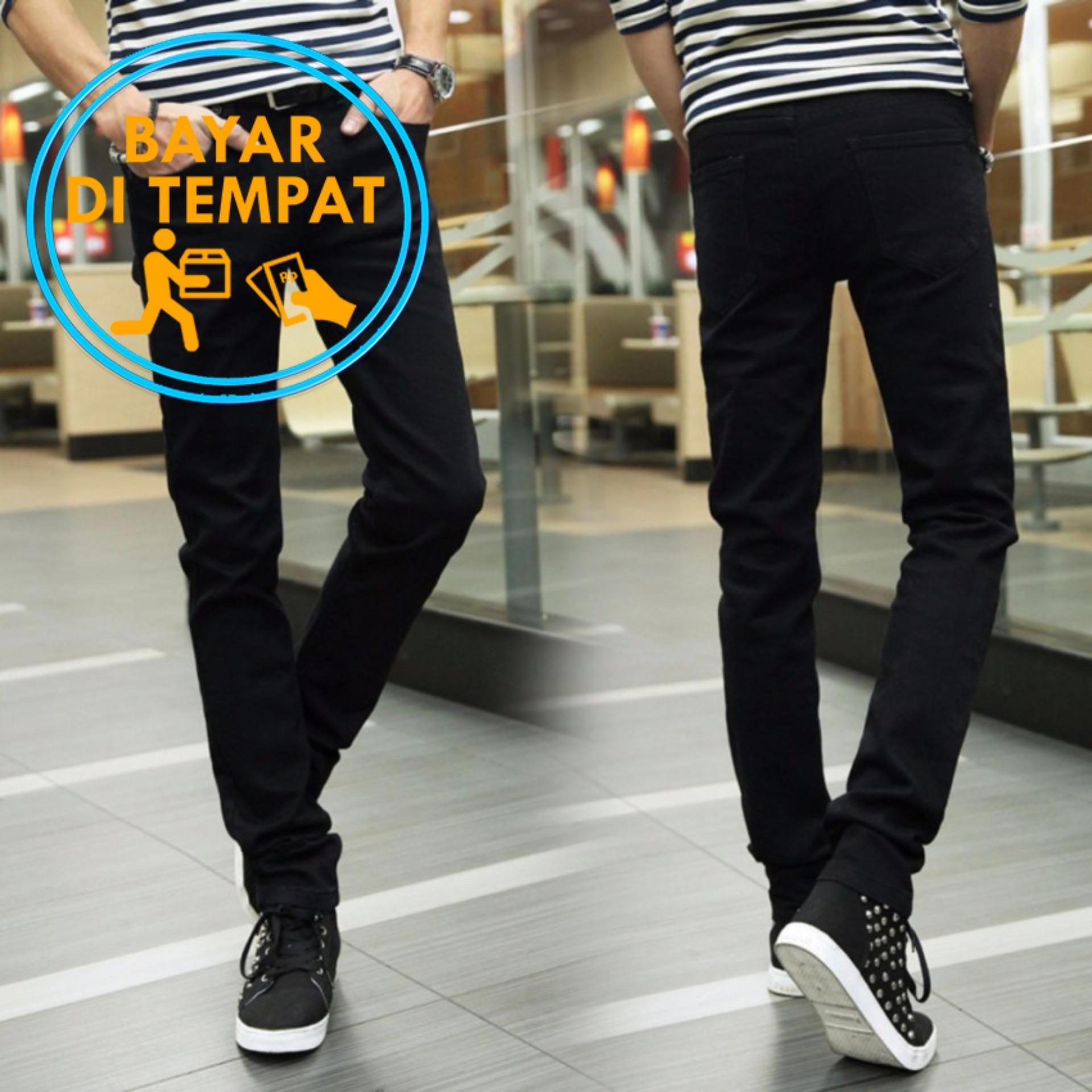 Celana Murah Slimfit Pria Jeans Hitam (Black)