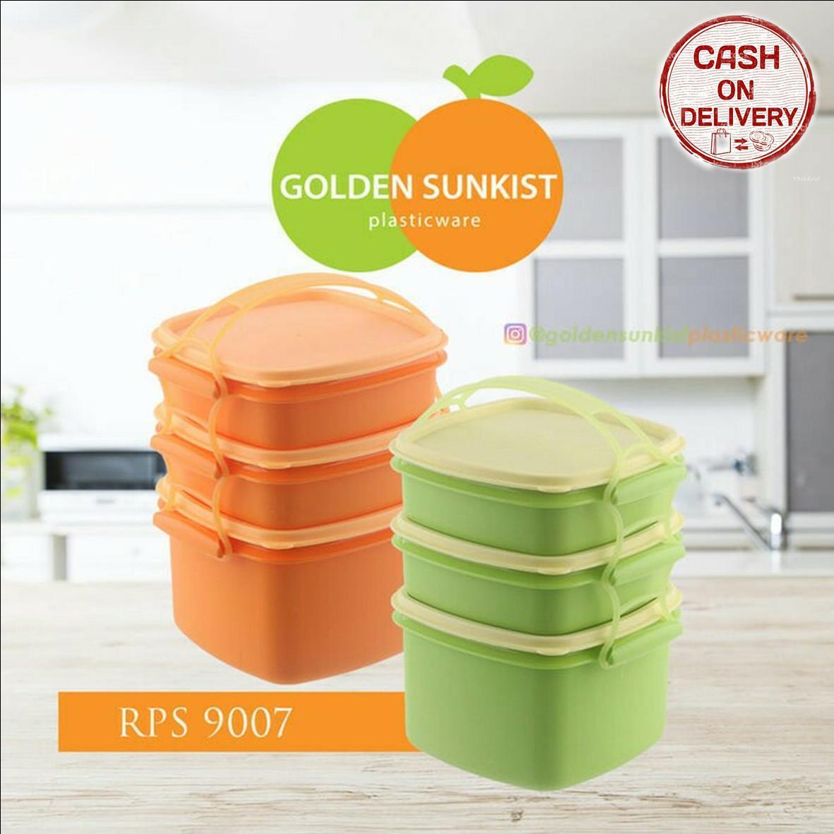 Kado Unik-- Rantang Piknik Food Grade Golden Sunkist Polos Susun 3 / Rantang Susun
