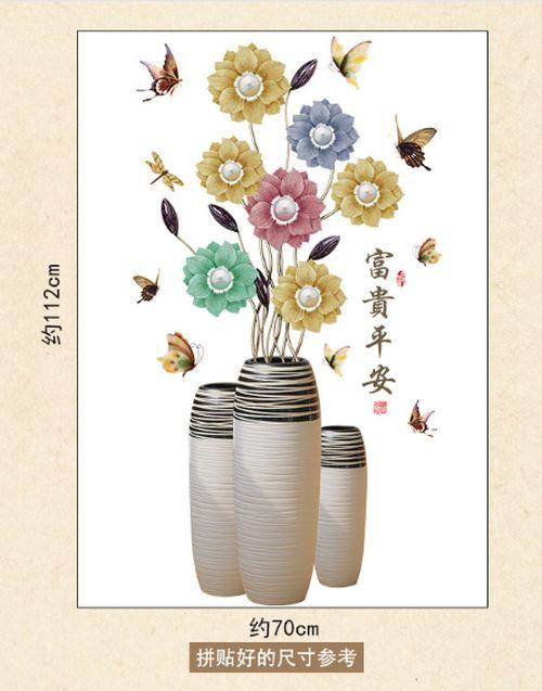 Wall sticker Vase Color Flowers SK9276 (90x60) Stiker Dinding - 3 .