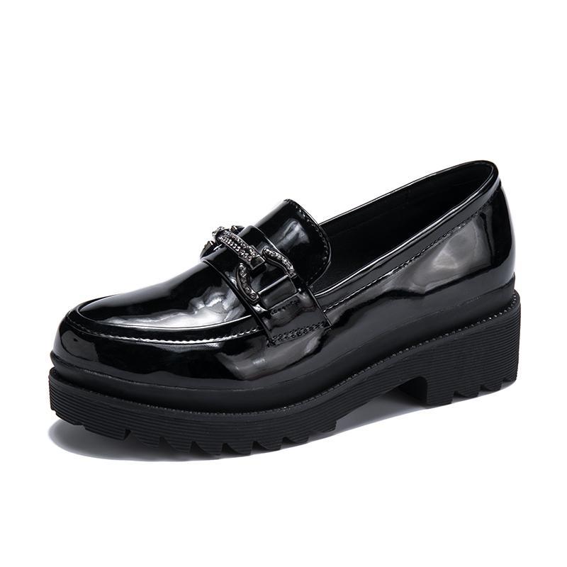 Hy Sepatu Musim Semi Inggris Sepatu Kulit Kecil Kulit Paten Perempuan (Hitam ) ebc0900a1a