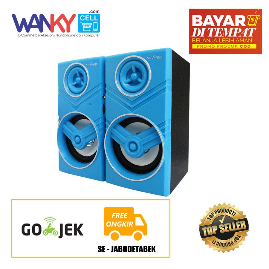 Harga Hemat Advance Speaker Duo 080 Portable Multimedia Speaker 2 With Volume Control Biru