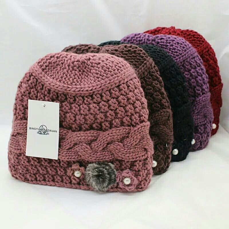 Detail Gambar Topi kupluk winter wanita import - topi wanita motif bunga  Terbaru 343a332840