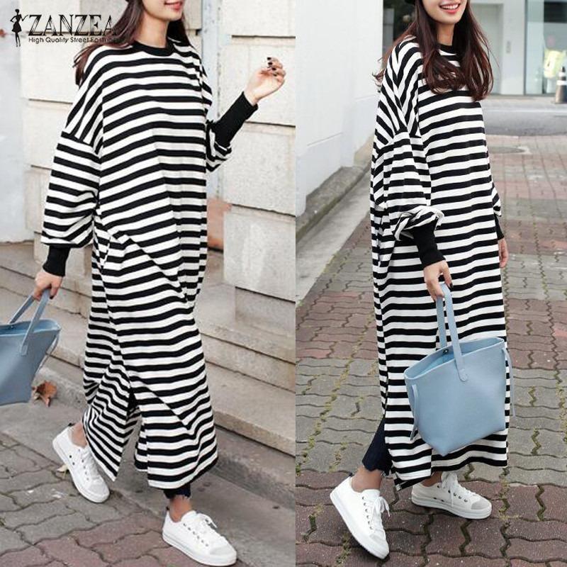Spesifikasi Zanzea Wanita Striped Dress Batwing Lengan Panjang O Leher Lepas Longgar Split Maxi Long Gaun Vestidos Stripe Intl Terbaik