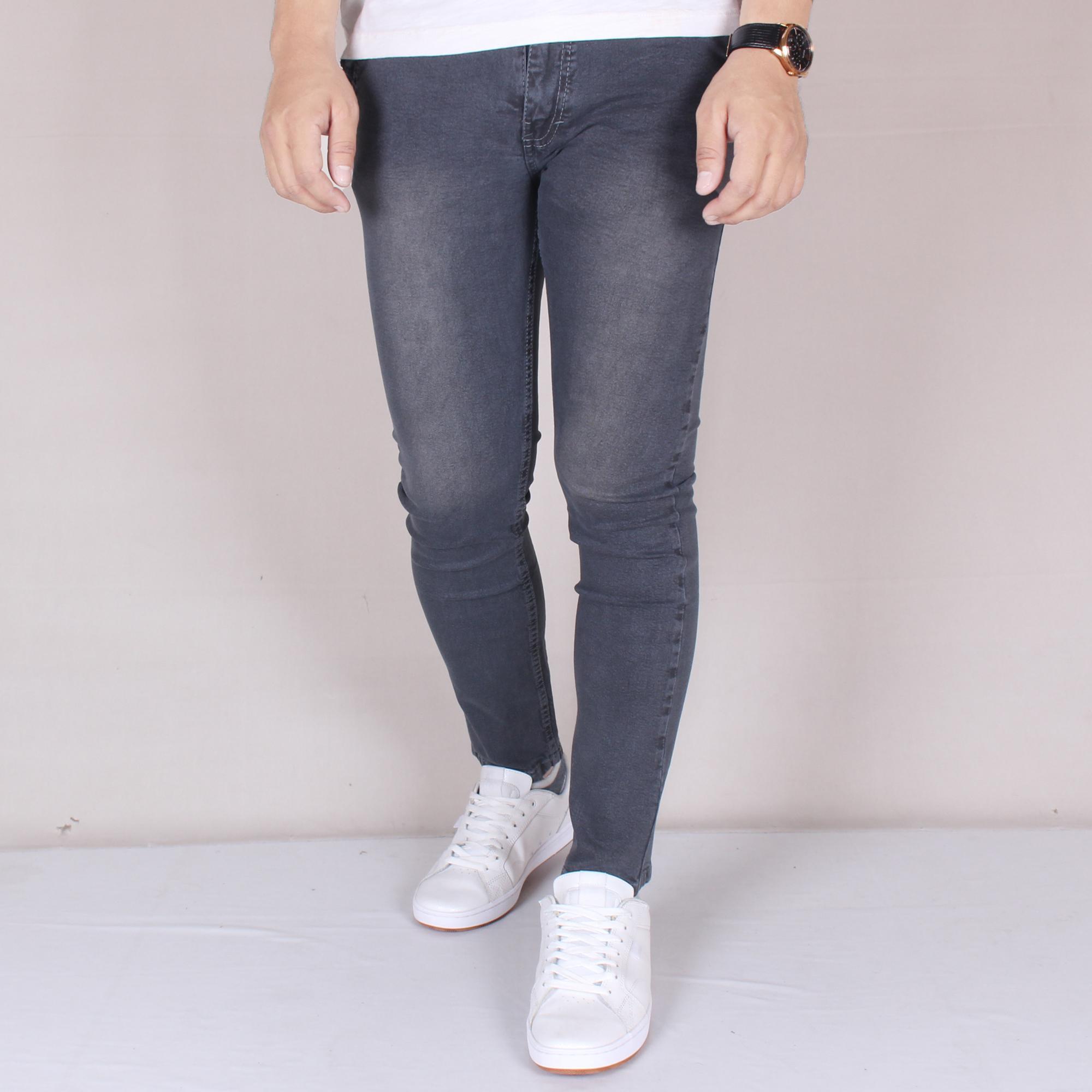 Zoeystore1 6010 Celena Jeans Panjang Pria Celana Jeans Skinny Cowok Skinny Jeans Gray Washing Simple Celana