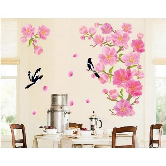 DF5089 Wallsticker wall sticker stiker dinding PINK PEACH FLOWER