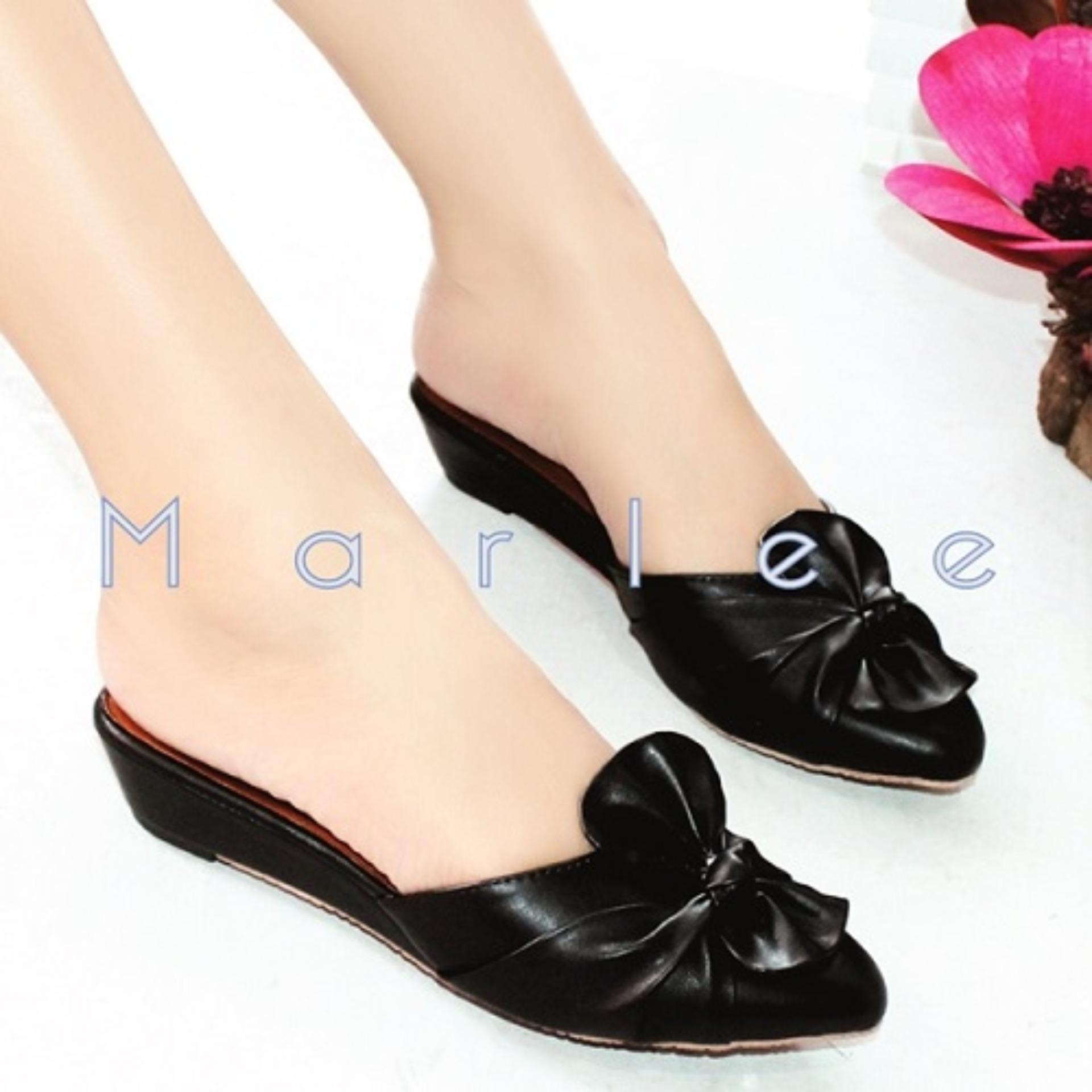 Marlee Pointed Toe Bow Sandal MMT-01 Hitam