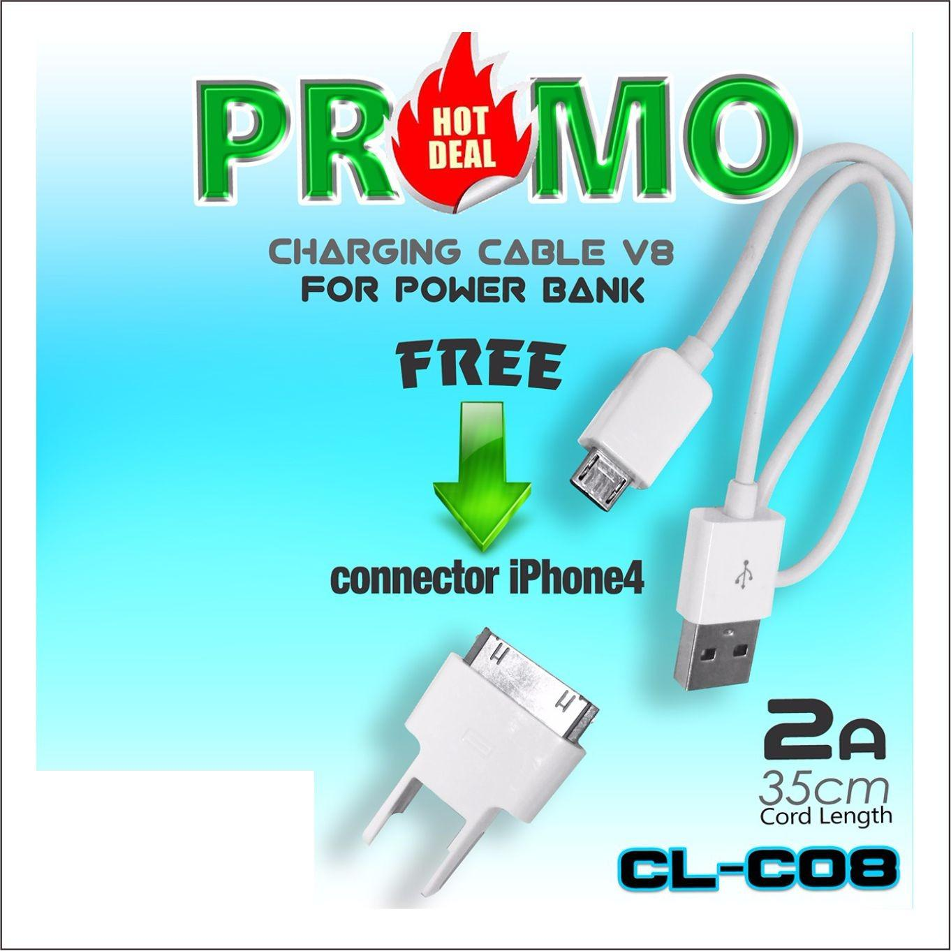 Kabel charger cl-c08 2in1 Universal USB Micro dan iphone 4 2A warna putih