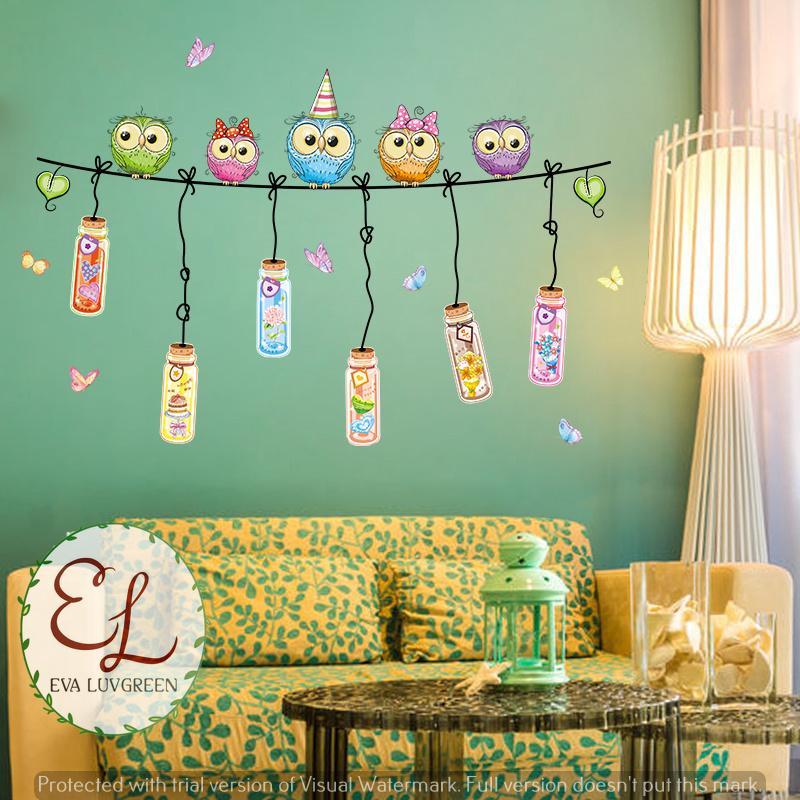 Detail Gambar Eva Luvgreen Wallsticker Owl Botol Party Ukuran 60x90cm/ Stiker Dinding/ Stiker Tembok/ Wallpaper Sticker/ Wall Paper Sticker/ Wall Sticker ...